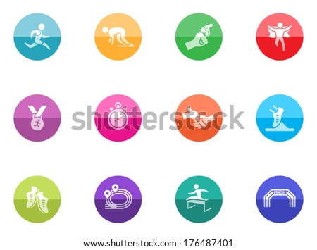 Run competition icon series in color circles.  - stock vector