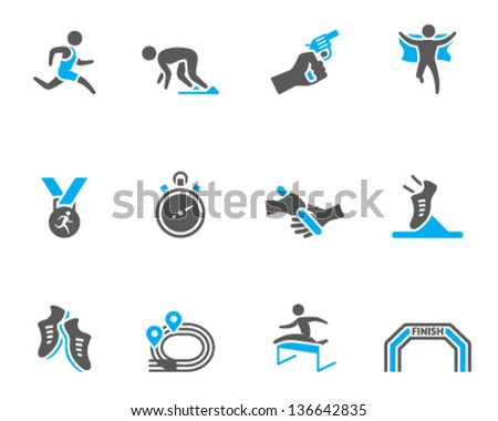 Run competition icon series  in duo tone colors - stock vector