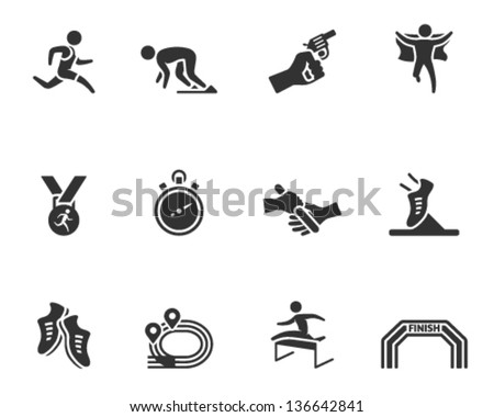 Run competition icon series  in single color - stock vector