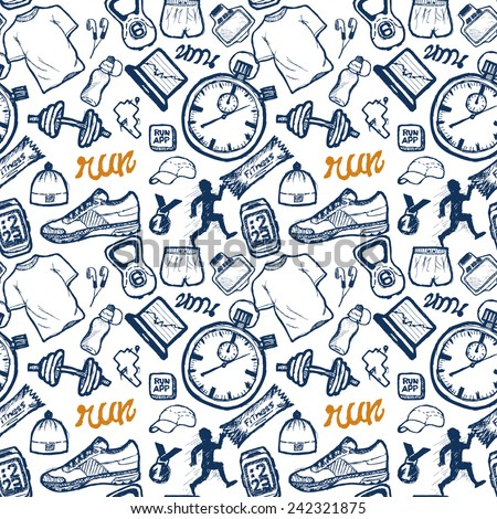 Run icons seamless pattern set in doodle style, hand drawing - stock vector