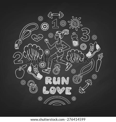 Run love girl vector icons set on a blackboard.Healthy lifestyle background - stock vector
