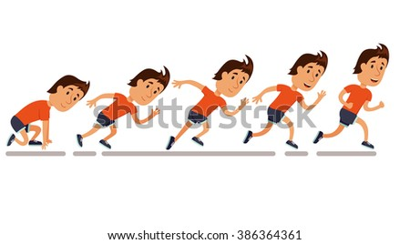 Run men. Running step sequence. Step by step run storyboard of run. Run man animation. Running competition. Run training  illustration. Jogging cartoon character. Sprint marathon. - stock vector