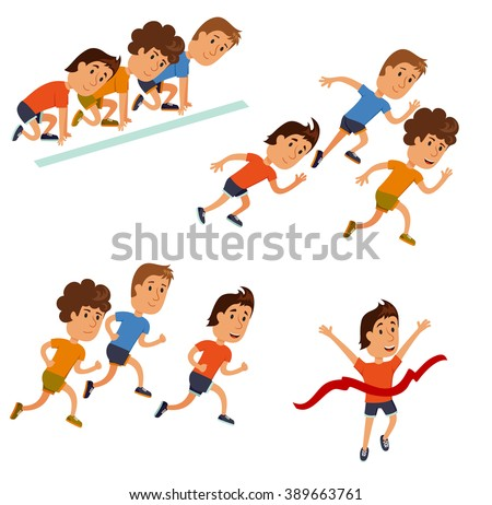 Run race. Running competition. Sprint marathon. Runners cartoon character. Starting line, race and finish set. Group of athletes. - stock vector