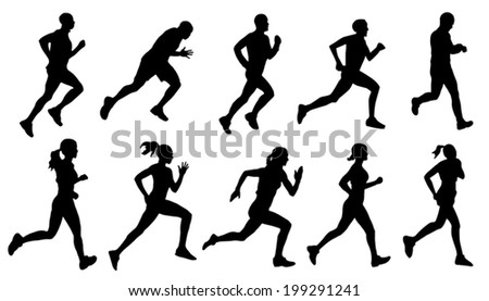 run silhouettes on the white background - stock vector