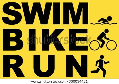run swim bike icons symbolizing triathlon. Vector illustration - stock vector