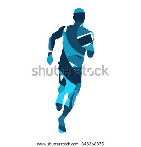 Run. Vector runner, blue abstract silhouette - stock vector