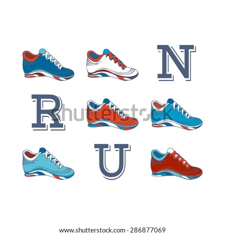 RUN! Vector sport jogging shoes design.