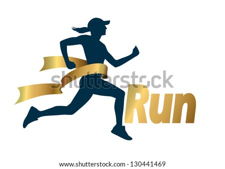 Run with gold ribbon, vector - stock vector