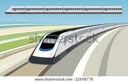 Runaway train (vector). Only global colors. CMYK. Separate shapes. Easy color changes. - stock vector