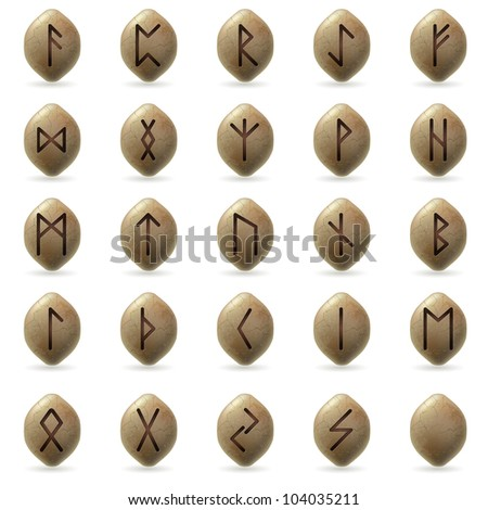Runic Stones with Magical Spells. Big set on white background