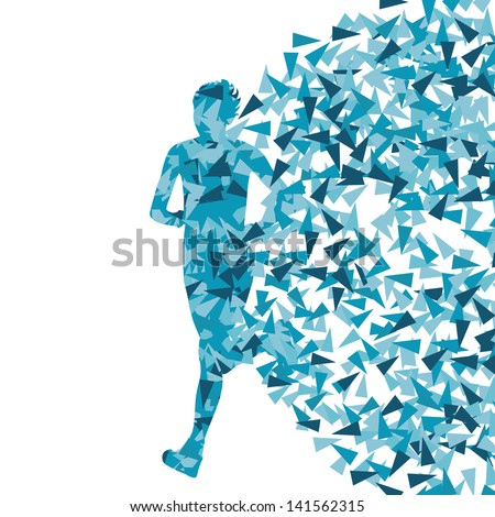 Runner abstract blue vector background, woman made of fragments - stock vector
