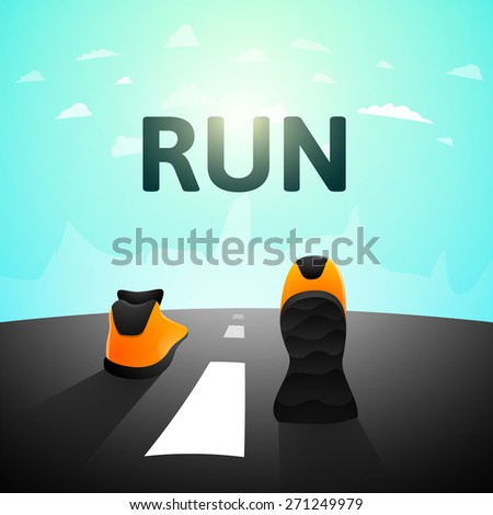 Runner athlete shoes on road, jog workout wellness concept, vector illustration background - stock vector