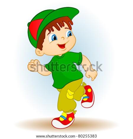 runner boy - stock vector