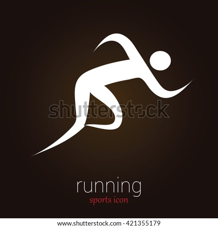 Runner / Jogger - Minimalist and Classy Flat Sports icon on black background - Layered EPS 10 Vector - stock vector