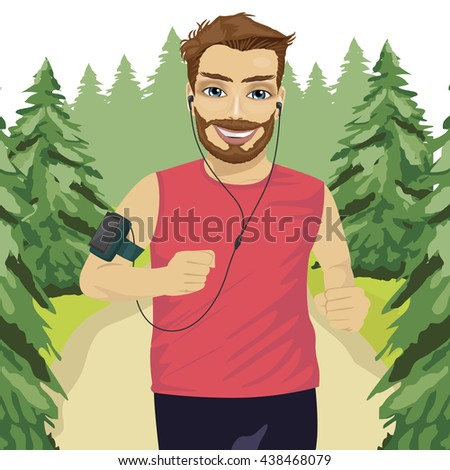 Runner man jogging in park with smartphone armband listening to music playlist on mobile phone app - stock vector