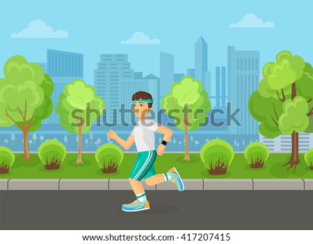 Runner man running on the street city park concept. Sport and Healthy concept. - stock vector