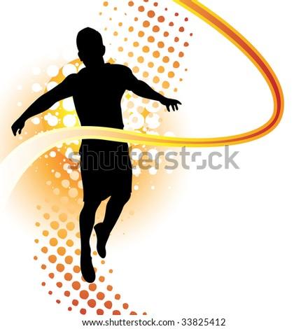 Runner passes finish line - stock vector