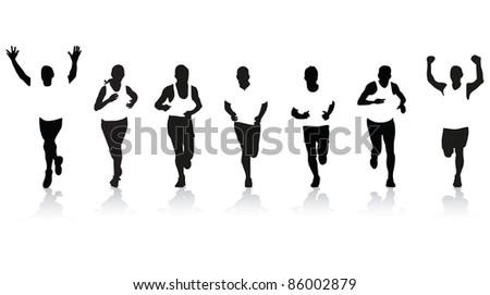 runner silhouettes - stock vector