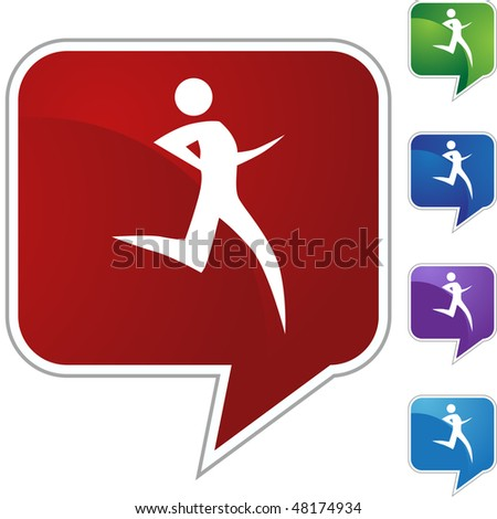 Runner stick figure isolated web icon on a background. - stock vector