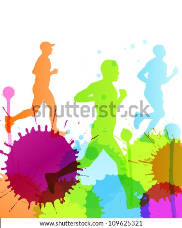 Runners abstract color splash vector background - stock vector