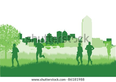 runners on a cityscape background - stock vector