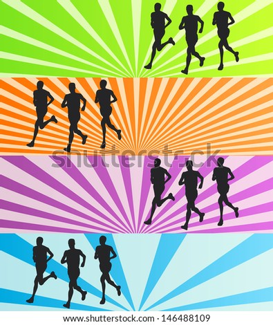 Runners vector background banner set