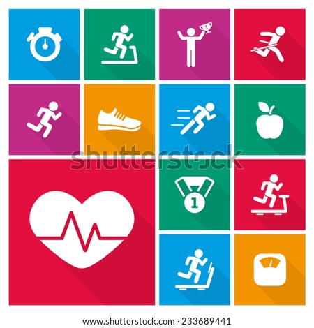 running and healthy lifestyle icons - stock vector