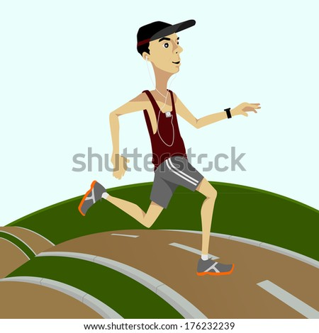 Running and Jogging man - male runner with listening to music  - stock vector