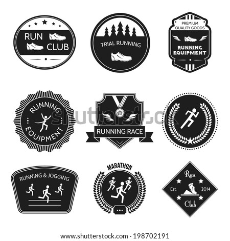 Running and jogging trial equipment winner labels set isolated vector illustration - stock vector