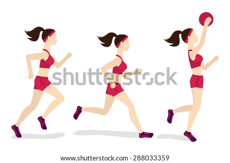 Running and jumping woman, jogging playing game. Fitness vector illustration - stock vector