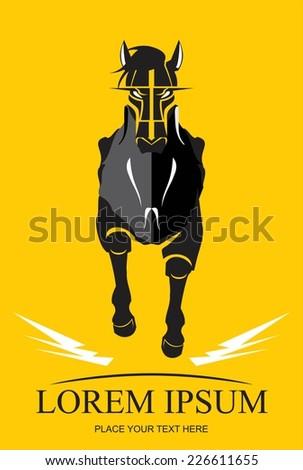 Running Black Horse. Black Stallion - stock vector