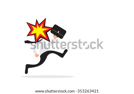 Running business man with head explosion as burnout concept. Vector illustration - stock vector