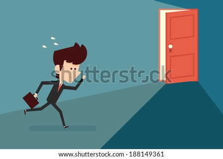 Running businessman and open door, vector - stock vector