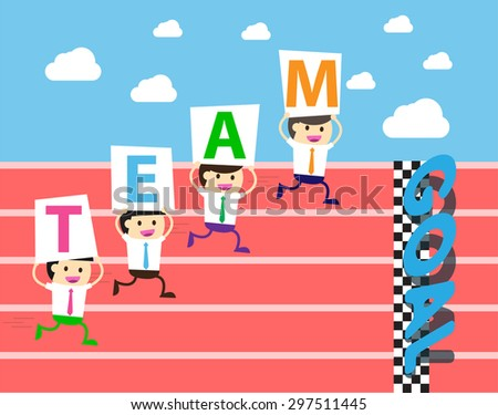 running businessman at the finishing line. wins Race target success. Bulb idea concept. winner. finish. win. flat design. track. Success. goal. Target. rocket. team, teamwork - stock vector