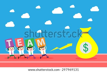 running businessman at the finishing line. wins Race target success. Bulb idea concept. winner. finish. win. flat design. track. Success. goal. Target. team, teamwork. track run. happy.money - stock vector