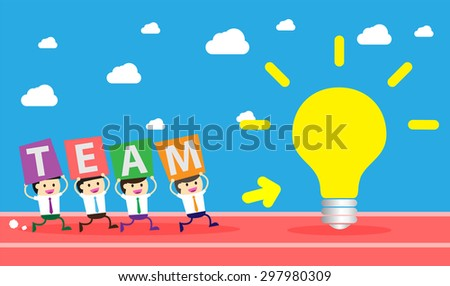 running businessman at the finishing line. wins Race target success. Bulb idea concept. winner. finish. win. flat design. track. Success. goal. Target. team, teamwork. track run. happy - stock vector