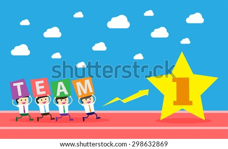 running businessman at the finishing line. wins Race target success. Bulb idea concept. winner. finish. win. flat design. track. Success. goal. Target. team, teamwork. number one gold star - stock vector