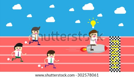 running businessman at the finishing line. wins Race target success. Bulb idea concept. winner. finish. win. flat design. track.Success. goal.Target. rocket.Business competition.Competitive advantage. - stock vector