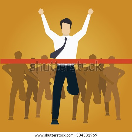 Running Businessman Crossing Finish Line Vector Illustration - stock vector
