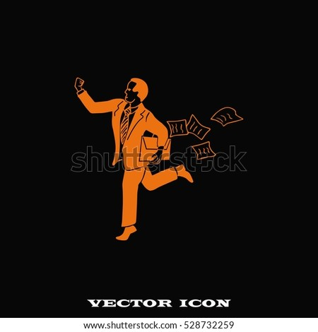 running businessman. The success of the concept. Search problem solving. Vector illustration.