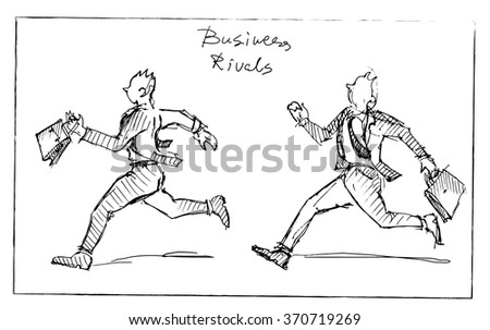 Running businessmen. Rivals competion concept. Or running business man in front and back sides. Vector sketch.