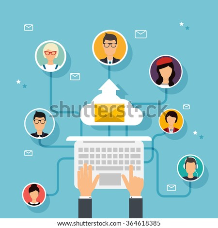 Running campaign, email advertising, direct digital marketing. Email marketing. Set of people avatars and icons. Flat design style modern vector illustration concept. - stock vector