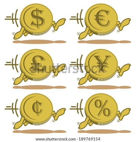 Running Cartoon Currency Coins Euro Dollar Stock Vector 189769154