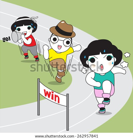 Running Challenge Characters illustration - stock vector