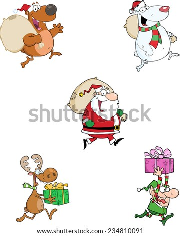 Running Christmas Cartoon Characters. Vector Collection Set