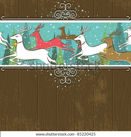 Running christmas deers in the forest,  vector illustration - stock vector