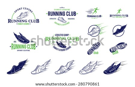 Running Club Logo, Labels, Icons and Design Element - stock vector