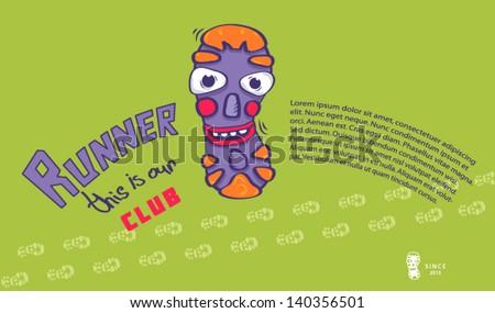 Running club poster. - stock vector