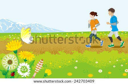 Running couple in Spring road - stock vector