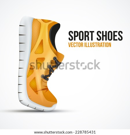 Running curved orange shoes. Bright Sport sneakers symbol. Vector illustration isolated on white background. - stock vector